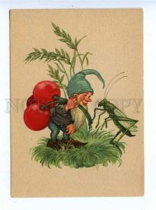 195857 GERMANY Gnome & grasshopper Vintage postcard