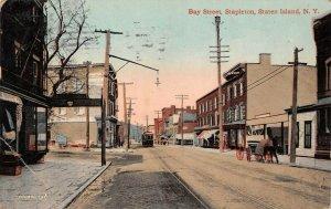 LPS32 Stapleton Staten Island New York Bay Street Town View Postcard
