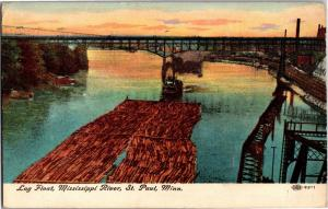 Log Float Mississippi River St. Paul Minnesota c1913 Vintage Postcard M16