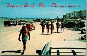 1970s Daytona Beach, Florida Postcard Cars on Beach Scene The Eyes Have It