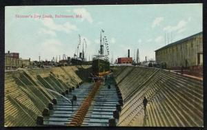 Postcard Used? Skinner's Dry Dock Baltimore Maryland LB