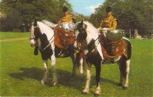 Drum Horses. Household Cavalry. London Vintage Salmon postcard