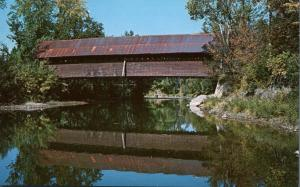 Kissing Covered Bridge reflected on Missisquoi River - Troy VT, Vermont