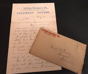 Orig 1888 The Licking Creamery Co. Newark OH  Letterhead Correspondence 5 Pages