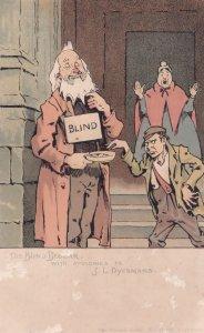 Blind Beggar Antique Pauper Apologies to Dyckmans Comic Antique Postcard