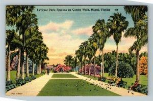 Miami FL-Florida,Scenic Baymont Park Walkway,Pigeons,Flowers,Linen c1943Postcard