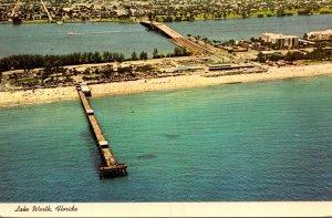 Florida Lake Worth Aerial View Showing Municipal Fishing Pier and Beach 1977