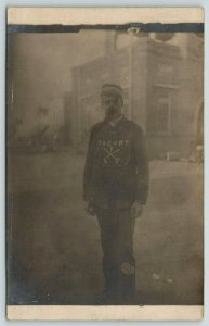 Real Photo Postcard~Man Wears Escort Shirt: Hammer & Pick Ax~Mine Related~c1912