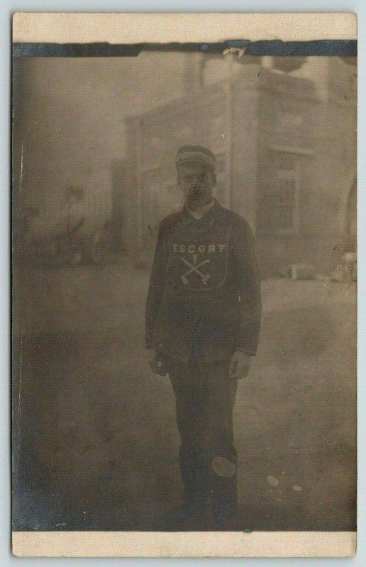 Real Photo Postcard~Man Wears Escort Shirt: Hammer & Pick Ax~Mine Related~c1912