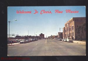 CLOVIS NEW MEXICO DOWNTOWN STREET SCENE 1960's CARS VINTAGE POSTCARD N.M