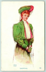 St John~Shopping~Lovely Lady Redhead in Green & Pink~White Ruffles~Wallet~1906