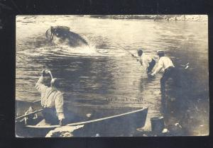 RPPC WH MARTIN EXAGGERATION BASS FISHING FISH REAL PHOTO POSTCARD VINTAGE