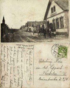 czech, DVORCE DVORCŮ, Street Scene, Hostinec Uborovicky (1923) RPPC Postcard