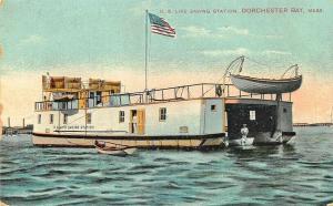 Dorchester Bay MA U. S. Life Saving Station Boat Postcard