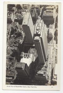 NY RPPC New York City Aerial View Rockefeller Center Mainzer Real Photo Postcard