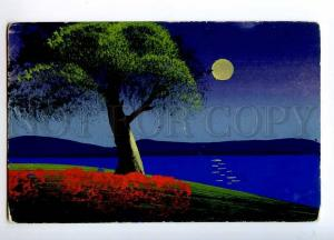 244810 MOON Night HUNT Vintage HAND PAINTED WATER COLOR PC