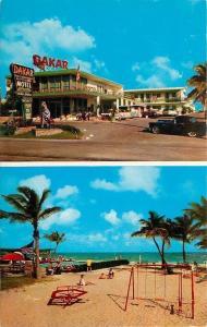 Hallandale Beach FL Sandy Playground~Merry-Go-Round~Dakar Motel~1956 Thunderbird