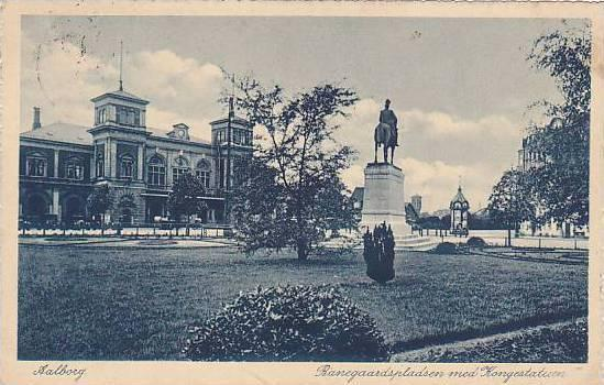 Aalborg , Ranegaardspladsen med Kongestatuen , Denmark , PU-1929