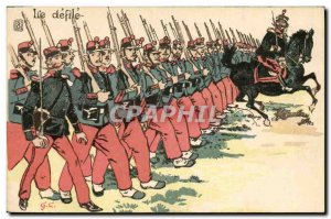 Old Postcard The Army parade