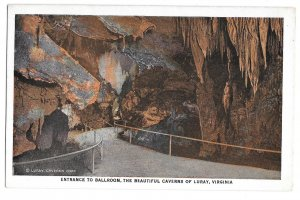 VA Luray Caverns Entrance to Ballroom Cave Vintage Marken & Bielfeld Postcard