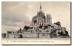 Old Postcard Mont St Michel Abbey Les Remparts and L & # 39Abbaye East Coast