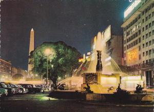 Fountain on the 9th of July Avenue Night View Bueno Aires Argentina