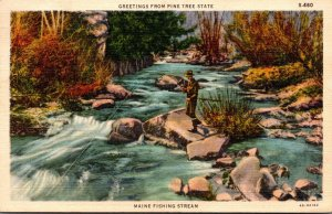 Maine Greetings From The PIne Tree State Maine Fishing Stream 1939 Curteich
