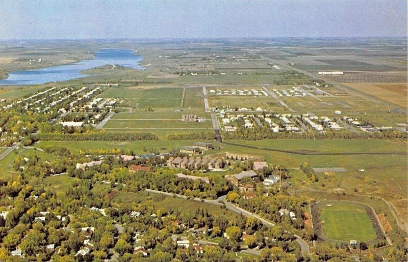 Jamestown ND~College~Aerial View~Football Stadium~Lots of Trees 1950s Linen PC