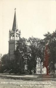 Winthrop MN First Evangelical Lutheran~Real Photo Postcard c1945