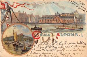 Altona Germany Harbor View Gruss aus Antique Postcard J60558