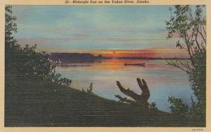 Alaska Midnight Sun On The Yukon River Curteich