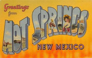 Hot Springs New Mexico~Large Letter Linen Postcard~Elephant Butte Lake Dam~1940s