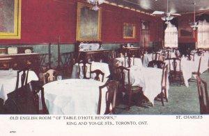 TORONTO, Ontario, 1900-1910s; Interior; Restaurant, Of Table D'Hotel Renown