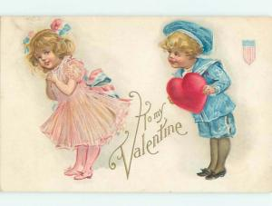 Pre-Linen patriotic valentine GIRL WEARS RED WHITE AND BLUE BOW IN HAIR W6962