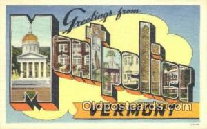 Montpelier, Vermont USA Large Letter Town Vintage Postcard Old Post Card Anti...