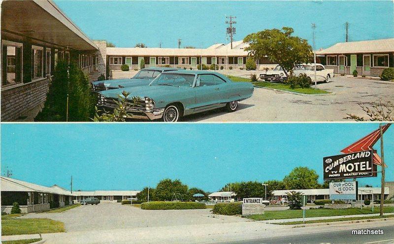 1960s Berland Motel Manchester Tennessee Teich Postcard 12434 Auto