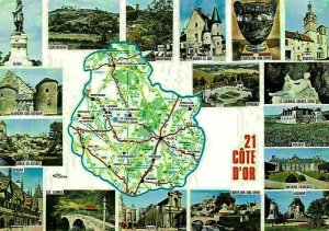France Cote d'Or Map Alesia Chateauneuf Semur Arnay Montbard Epoisses Postcard