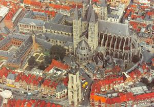 Bélgica Tournai Panorama Cars Voitures Catedral Aerial View