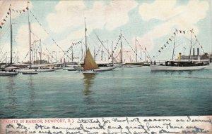 NEWPORT, Rhode Island, PU-1906; Yachts in Harbor