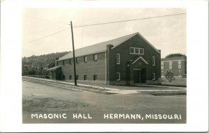 Vtg Postcard RPPC 1940s - Hermann Missouri MO - Masonic Hall Street View UNP