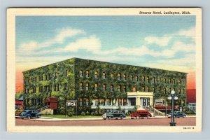 Ludington MI-Michigan, Stearns Hotel, Period Cars, Advertising, Linen Postcard