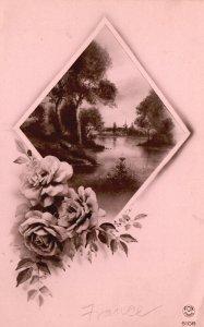 Vintage Postcard 1910's Flowers Diamond Water Lake Trees Nature Scene Artwork