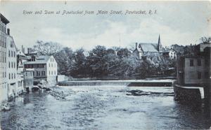 Pawtucket Rhode Island~River & Dam from Main Street~Church in Distance~c1905 B&W