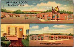 Rawlins, Wyoming Postcard WEST-WAY LODGE Motel Highway 30 Roadside Linen 1950s