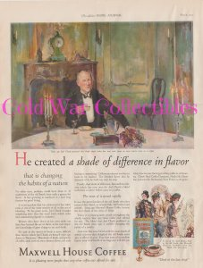 Maxwell House Coffee, Color Print Ad, Joel Cheek at the Table 1927 Print Ad