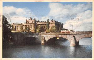 Sweden Old Vintage Antique Post Card Riksdagshuset och Norrbro Stockholm 1950