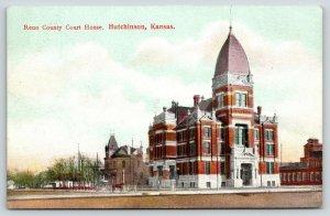 Hutchinson Kansas~Steep Mansard Roof on County Courthouse~c1910 Potcard
