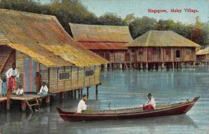 Singapore Malay Village canoe postcard