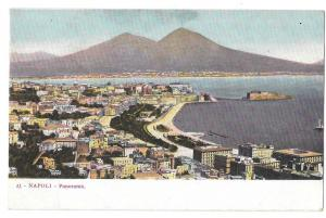 Italy Napoli Panorama Vesuvius Sea Port Campania Postcard