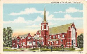 Sioux Falls SD Gothic Architecture~First Lutheran Church 1940s Linen